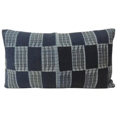 Vintage Indigo and Blue African Woven Pattern Decorative Lumbar Pillow