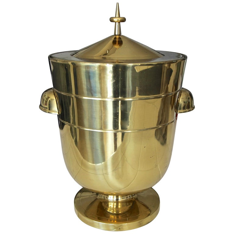 Tommi Parzinger Brass Champagne Cooler or Ice Bucket For Sale