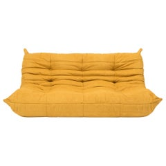Large Togo Yellow Fabric Sofa by Michel Ducaroy for Ligne Roset