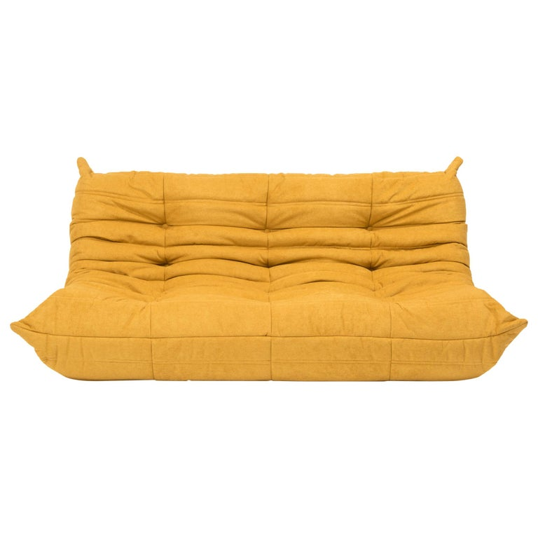 Large Togo Yellow Fabric Sofa by Michel Ducaroy for Ligne Roset For Sale