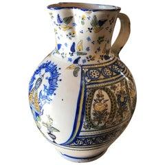 18th-Early 19th Century Spanish Talavera de la Reina Pitcher Jar Bucaro/ Botijo