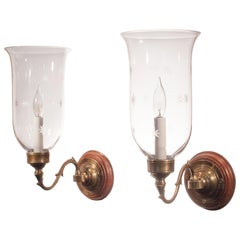 Pair of 19th Century Hurricane Shade Sconces with Etched Stars