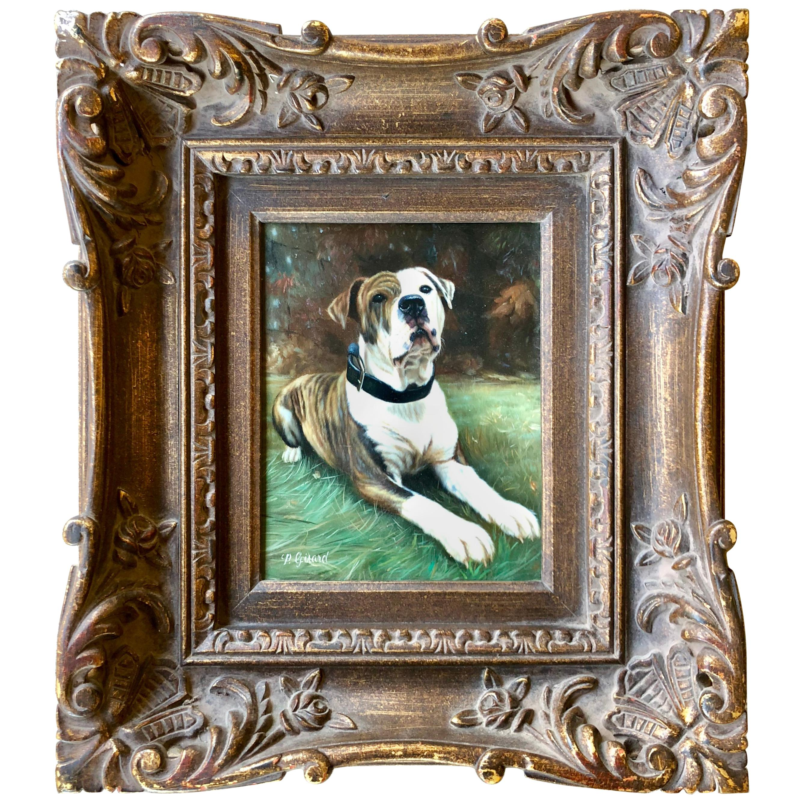 Fine Quality Original Oil Painting American Bulldog by French Artist Girard