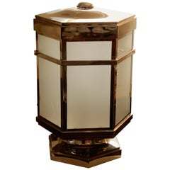 Pair of Modern Industrial Luminaire Polished Chrome Lanterns