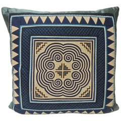Vintage Asian Blue and Purple Applique Embroidered Square Pillow