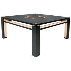 Large Black Illusionists Inlaid Square Parsons Style Modernist Coffee Table
