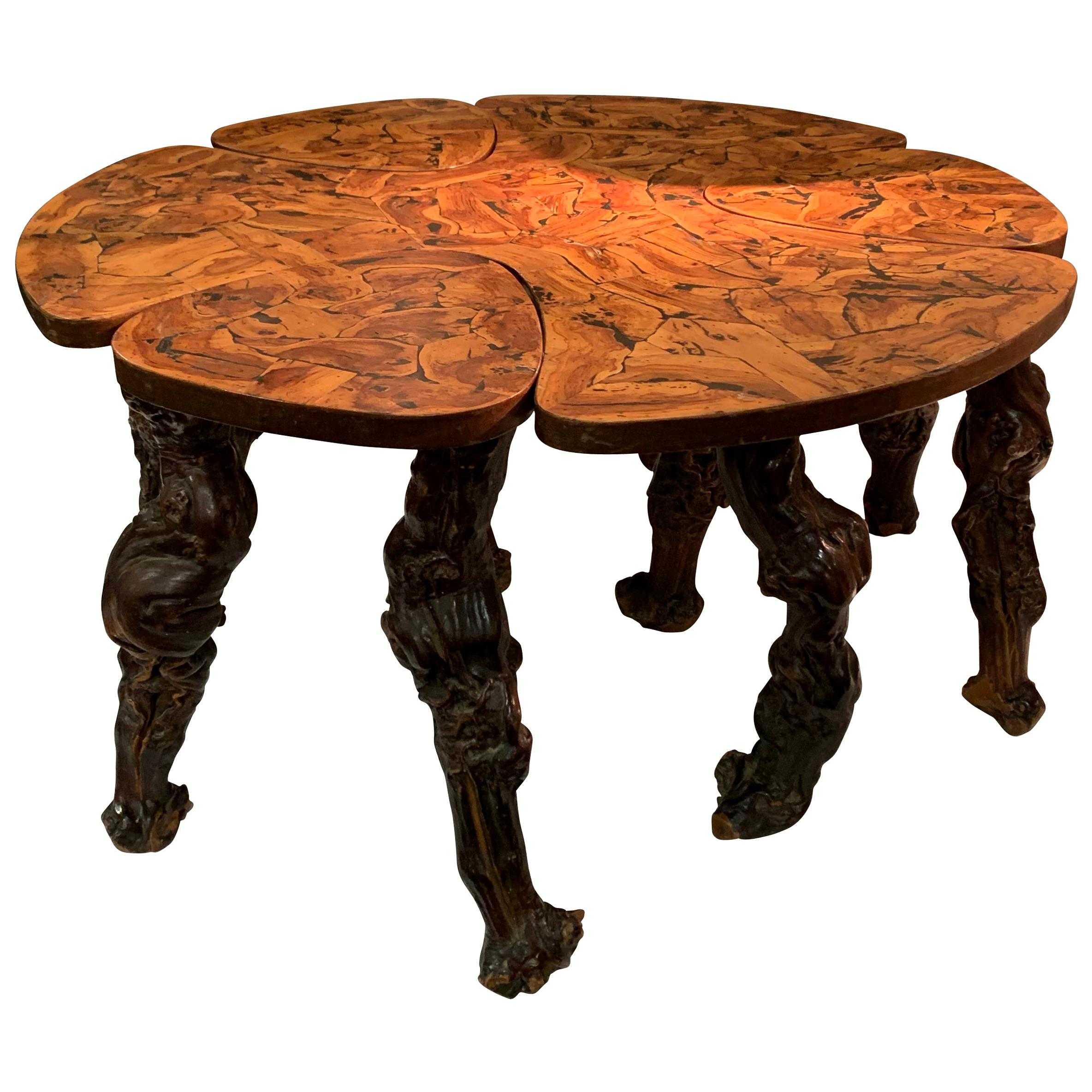 Root Coffee Table and Stools, France, 20th Century