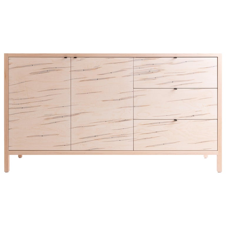 Laska Credenza in Ambrosia Maple, Three Drawers, Two Doors, Customizable For Sale
