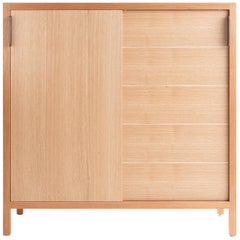 Laska Credenza in Quarter-Sawn White Oak, Sliding Doors, Customizable