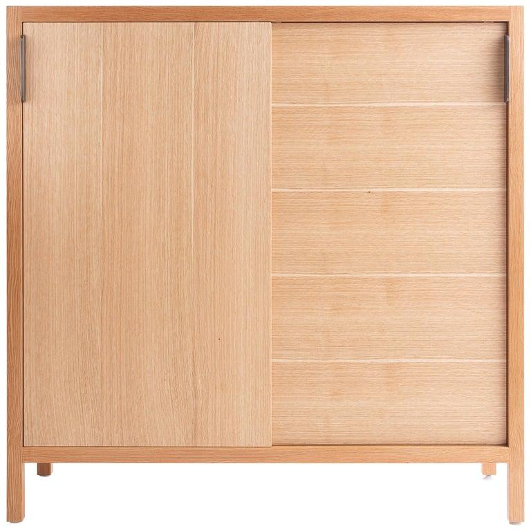 Laska Credenza in Quarter-Sawn White Oak, Sliding Doors, Customizable For Sale