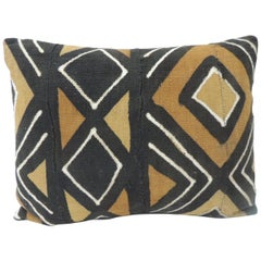 Vintage Graphic African Artisanal Textile Mud Cloth Decorative Bolster Pillow