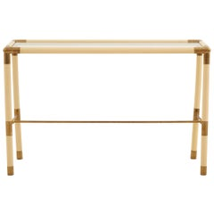 Cream-Colored Metal Console Table with Brass Details