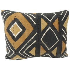 Vintage Graphic Black and Mustard African Decorative Bolster Pillow