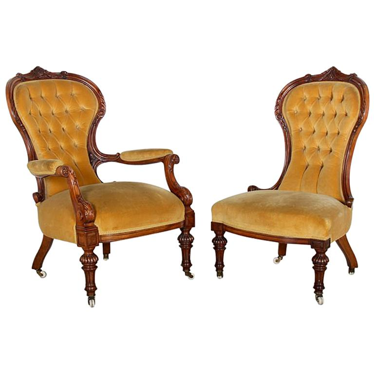 Pair of English Victorian Salon Chairs
