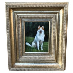 Excellent Quality Original Oil Painting of a Husky Dog by French Artist Girard