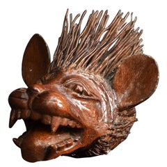 Mid-20th Century Folk Art Root Carving of a Beast
