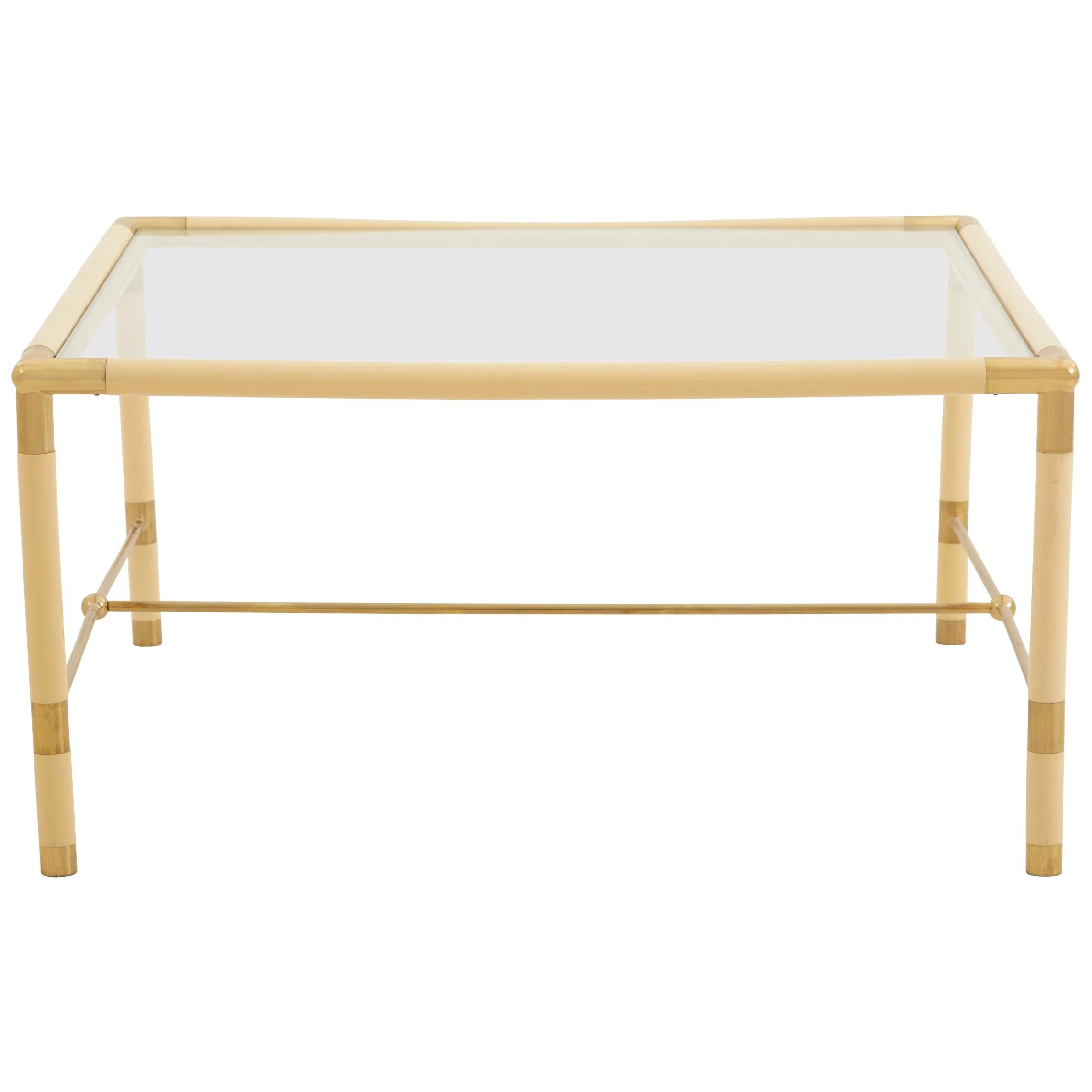 Cream Colored Metal Square Table With Brass Details For Sale