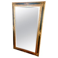 Monumental Large Full Length Neoclassical Beveled Floor Mirror Black and Gold