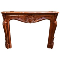 Red Louis XV Marble Mantel, circa 1870