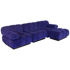 Open Air Modern Purple Blue Velvet Custom Modular Tufted Sofa with Ottoman