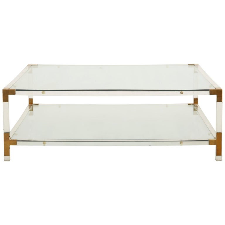 Midcentury Square Lucite And Brass Coffee Table For Sale