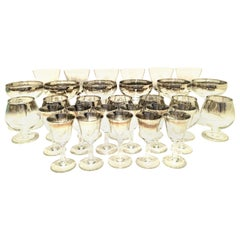 """1960s Sterling Silver """"Fade"""" Stem Drink Glasses by, Dorothy Thorpe, Set of 30"""