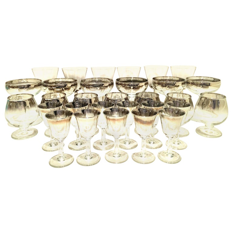 """1960s Sterling Silver """"Fade"""" Stem Drink Glasses by, Dorothy Thorpe, Set of 30 For Sale"""