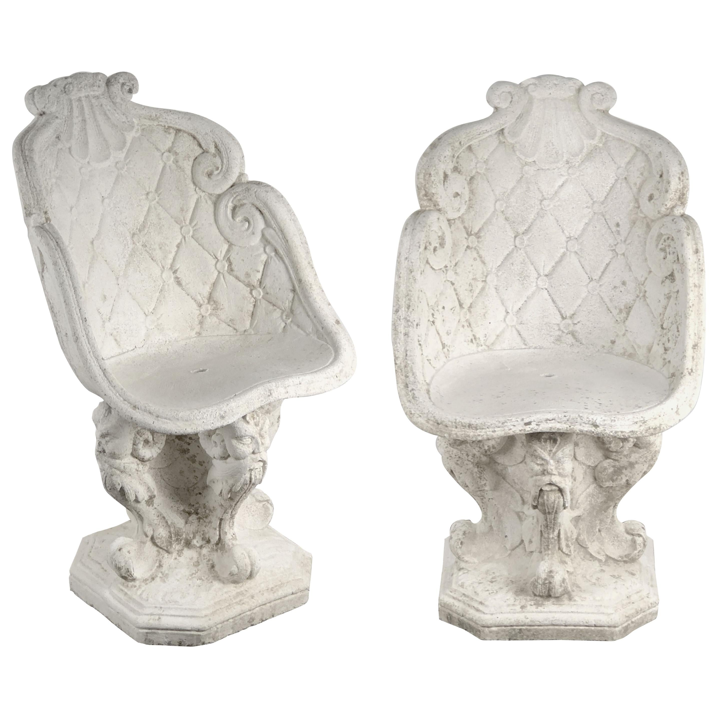 Pair of Large Italian Garden Stone Chairs - Individually Priced