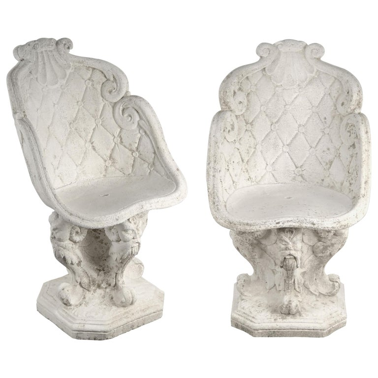 Pair of Large French Garden Stone Chairs - Individually Priced For Sale