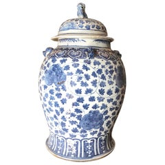 1st Qr. 19th C. Blue & White Chinoiserie Lidded Temple Jar Antiques Los Angeles
