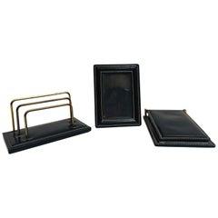 Vintage Desk Set, Black Leather and Brass Letter Rack, Picture Frame and Notepad