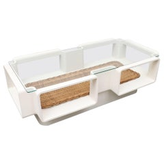 Jean Maneval Mod Space Age Coffee Table with Rattan Basket Storage