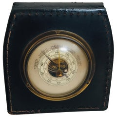 Brass Barometer with Readings in French Wrapped in Black Leather, Adnet Style