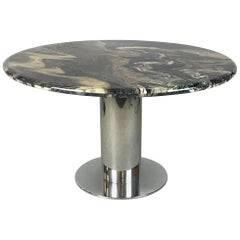 Luxurious Italian Marble-Top Chrome Table