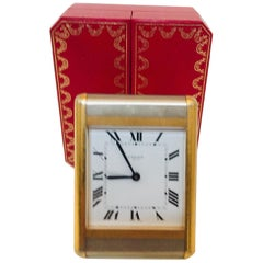 Cartier Tank Desk Clock Two-Tone Gold and Steel