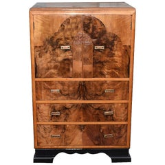 English Art Deco Figured Walnut Tallboy / Chest of Drawers, circa 1930