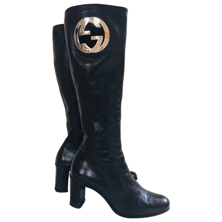 Gucci by Tom Ford Black Leather Boots For Sale