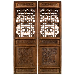 Antique Chinese Wooden Architectural Pair of Screen Doors