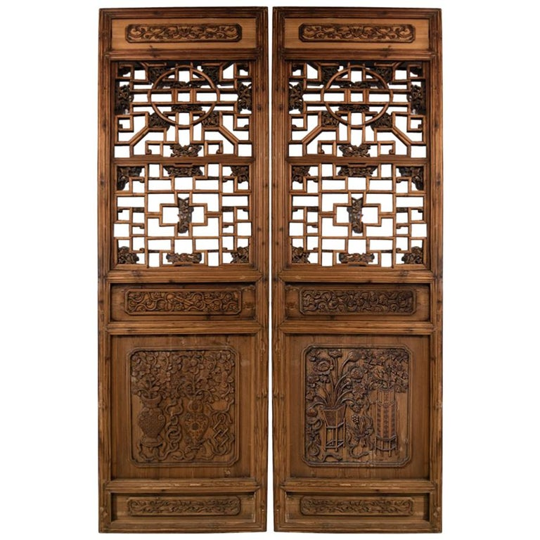 Antique Chinese Wooden Architectural Pair of Screen Doors For Sale