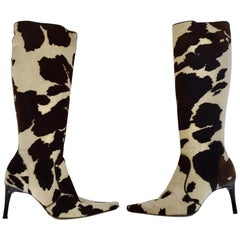 Vintage Dolce Gabbana Fitted Boots Animal Print
