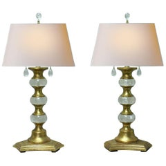 Pair Modern Style Rock Crystal and Giltwood Table Lamps