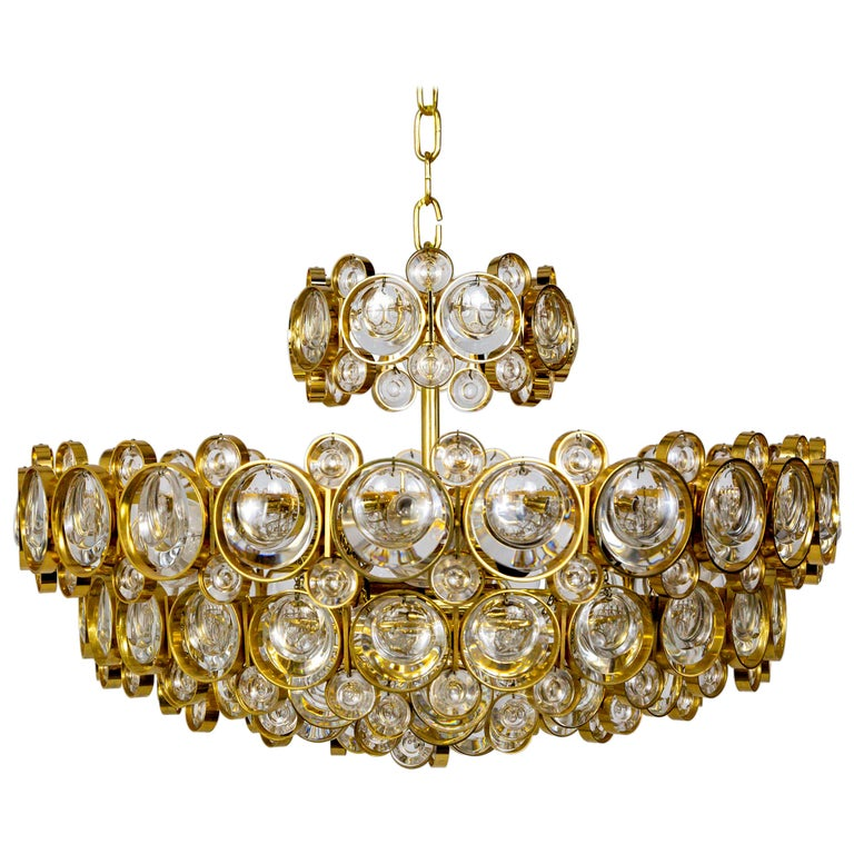 Circular Gilt Brass and Optical Lens Crystal Multi Tier Chandelier by Palwa