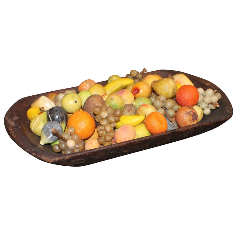 19th Century American Dough Bowl with Stone Fruit Collection of 75 Pieces For Sale