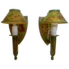 Pair Green Tole Sconces with Hand Painted Landscapes