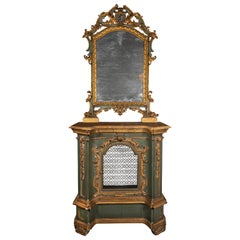A Late 18th-Early 19th Century Italian Gilt Painted Console Cabinet and Mirror