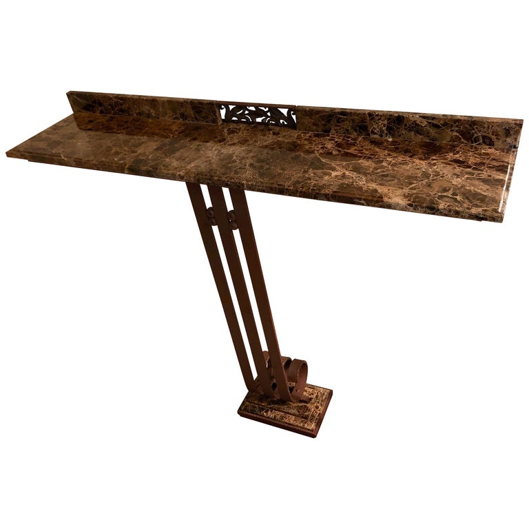 Art Deco Custom Iron and Marble Console Table For Sale