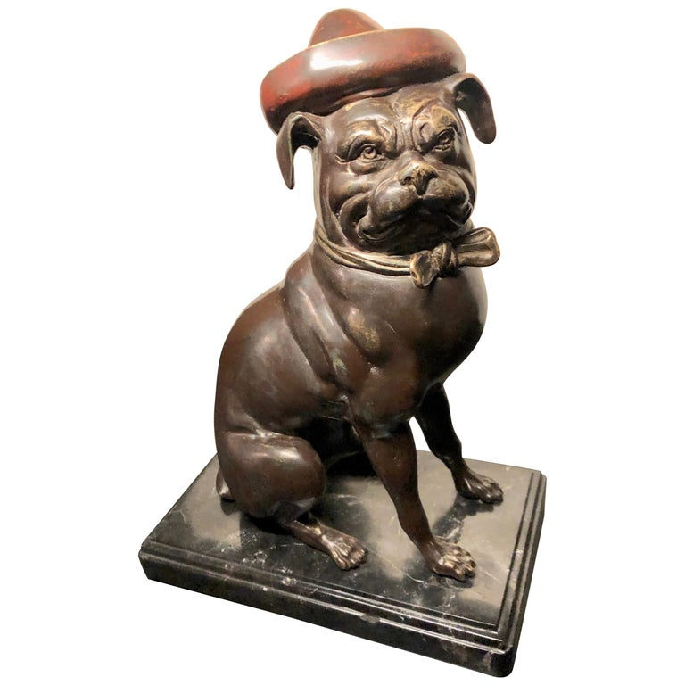 Bronze French Bull Dog Sculpture Art Deco For Sale