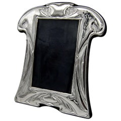 English Sterling Silver Picture Frame in the Art Nouveau Style