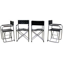 Folding Campaign Style Director's Chairs Black Vinyl & Chrome Style Gae Aulenti