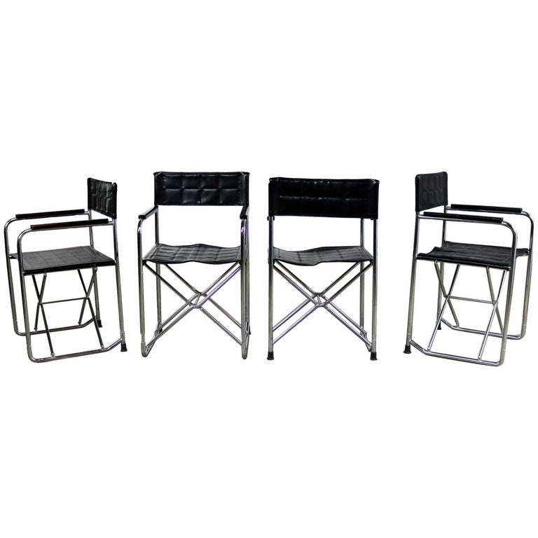 Folding Campaign Style Director's Chairs Black Vinyl & Chrome Style Gae Aulenti For Sale